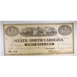 1862 STATE OF NORTH CAROLINA $2.00  NOTE, NICE CU
