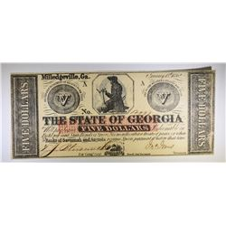 1862 $5.00 THE STATE OF GEORGIA, MILLEDGEVILLE, NOTE, CU