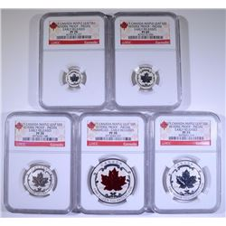 2015 CANADA REVERSE PROOF SILVER MAPLE LEAF 5 COIN SET NGC 4- PF70 & 1- PF69