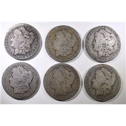 6 MORGAN SILVER DOLLARS: 1885, 1886-O, 1891, 1898-S, 1901-O, 1903