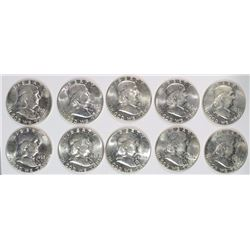 ( 10 ) UNC. 1963 FRANKLIN HALF DOLLARS
