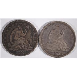 1843 & 1858-O SEATED HALF DOLLARS, VG/FINE