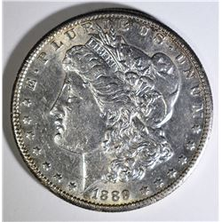 1889-S MORGAN SILVER DOLLAR, CHOICE AU NICE!