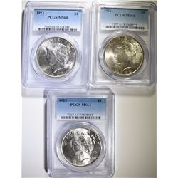 1922 , 1923 & 1925 PEACE SILVER DOLLARS, PCGS MS-64