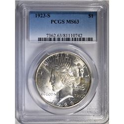 1923-S PEACE DOLLAR - PCGS MS63