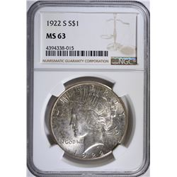 1922-S PEACE SILVER DOLLAR, NGC MS-63
