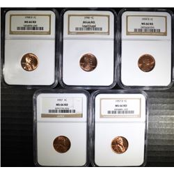NGC GRADED MS-66 RED LINCOLN CENTS:  1956, 1957, 1957-D, 1958-D & 1959-D