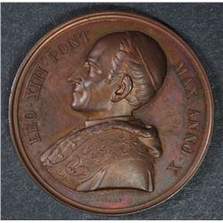 BRONZE PAPAL MEDAL POPE LEO XIII ANNO X  SUPERB CONDITION