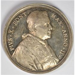 SILVER PAPAL MEDAL: POPE PIUS X ANNO II 1903-1913