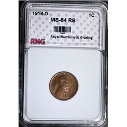 1916-D LINCOLN CENT, RNG CH/GEM BU RB