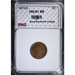 1917-D LINCOLN CENT, RNG CHOICE BU BR