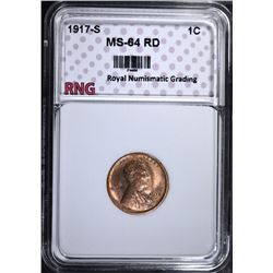 1917-S LINCOLN CENT, RNG CH/GEM BU RD