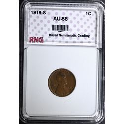 1918-S LINCOLN CENT, RNG AU/BU