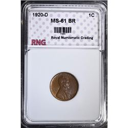 1920-D LINCOLN CENT, RNG CHOICE BU BR