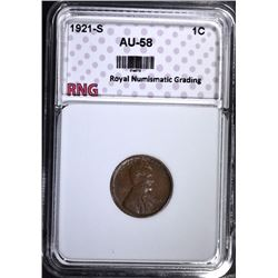 1921-S LINCOLN CENT, RNG AU/BU