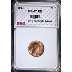 1937 LINCOLN CENT, RNG MS-67 RD