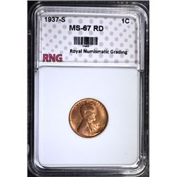 1937-S LINCOLN CENT, RNG MS-67 RD