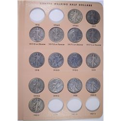 PARTIAL WALKING LIBERTY HALF DOLLAR SET IN DANSCO ALBUM 1916-47: SEE DESCRIPTION