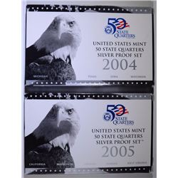 2004 & 2005 U.S. SILVER STATE QUARTER PROOF SETS IN ORIG PACKAGING