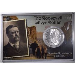 "1901-O ""ROOSEVELT"" MORGAN SILVER DOLLAR, GEM BU IN HOLDER"