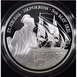 FIVE Oz .999 SILVER NAPOLEON PROOF  COIN IN  BOX/COA ST HELENA ASCENSION ISLANDS