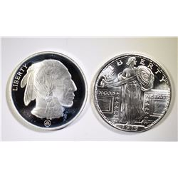 ( 2 ) ONE OUNCE .999 SILVER ROUNDS