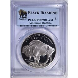 2001-P BUFFALO COMMEMORATIVE SILVER DOLLAR, PCGS  PR-69 DCAM