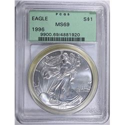 1996 AMERICAN SILVER EAGLE, PCGS MS-69 OLD GREEN HOLDER  KEY DATE