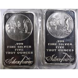 ( 2 ) FIVE OUNCE .999 SILVER BAR ( SILVERTOWNE )