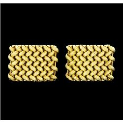 Braided Shield Design Cuff Links - 14KT Yellow Gold