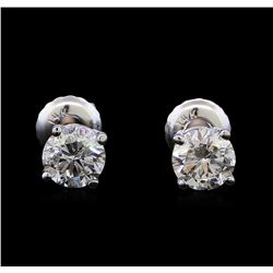 1.03 ctw Diamond Stud Earrings - 14KT White Gold