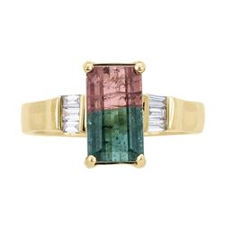 2.27 ctw Bi-Color Tourmaline and Diamond Ring - 14KT Yellow Gold