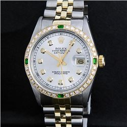 Rolex Two Tone Diamond and Emerald DateJust Men's Watch
