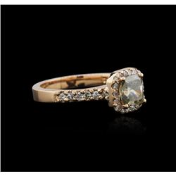 14KT Rose Gold 1.42 ctw Fancy Green Diamond Ring