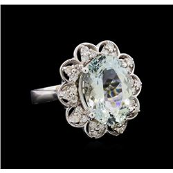 4.93 ctw Aquamarine and Diamond Ring - 14KT White Gold