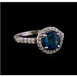 2.56 ctw London Blue Topaz and Diamond Ring - 14KT White Gold