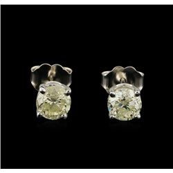 1.21 ctw Diamond Stud Earrings - 14KT White Gold