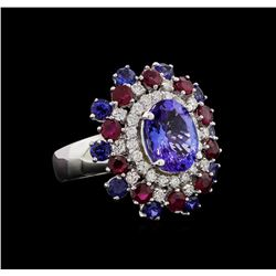 14KT White Gold 3.58 ctw Tanzanite, Sapphire, Ruby and Diamond Ring