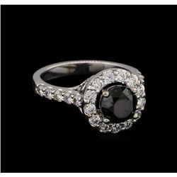2.68 ctw Black Diamond Ring - 14KT White Gold