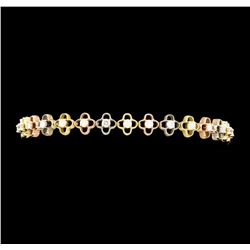1.35 ctw Diamond Bracelet - 14KT Tri Color Gold