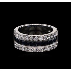 0.96 ctw Blue Sapphire and Diamond Ring - 14KT White Gold