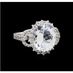 4.27 ctw Aquamarine and Diamond Ring - 14KT White Gold