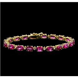 15.00 ctw Pink Tourmaline and Diamond Bracelet - 14KT Yellow Gold