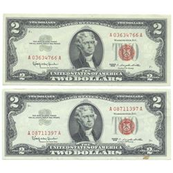 1963 $2 Uncirculated Red Seal Bill Lot of 2