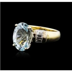 14KT Yellow and White Gold 4.93 ctw Aquamarine and Diamond Ring