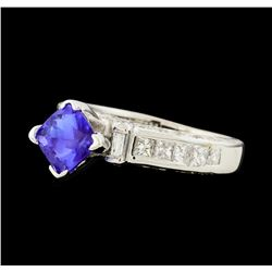 1.23 ctw Tanzanite and Diamond Ring - 18KT White Gold