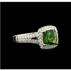 1.76 ctw Green Tourmaline and Diamond Ring - 14KT White Gold