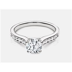 Cubic Zirconia and Diamond Ring - 18KT White Gold