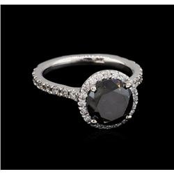 3.65 ctw Black Diamond Ring - 14KT White Gold