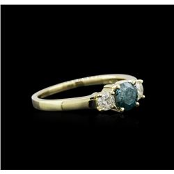 14KT Yellow Gold 0.85 ctw Fancy Blue Diamond Ring